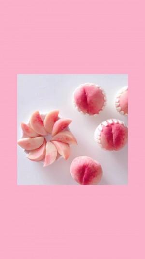 水蜜桃粉色少女心手机壁纸图片