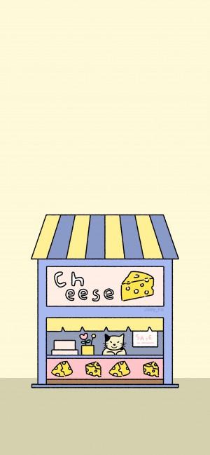 日系小屋迷你卡通手绘高清手机壁纸
