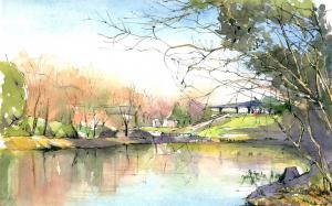 日本画师小森裕三水彩风景画