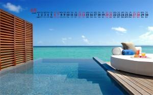 2020年6月碧蓝大海沙滩风景桌面日历壁纸