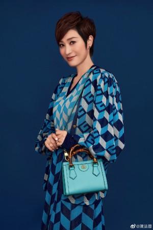 陈法蓉蓝色连衣裙温柔成熟知性写真图片