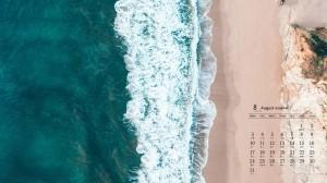2020年8月唯美绿色海岸线高清日历壁纸
