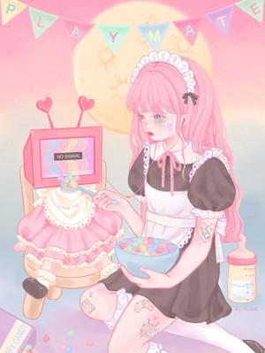 粉色少女插画手绘图片
