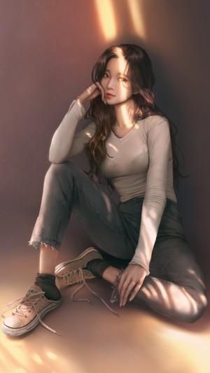 唯美少女清纯休闲紧身裤气质写真图片