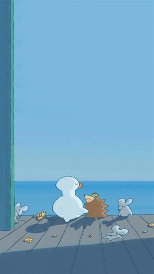可爱小鸭子生活手绘插画高清手机壁纸