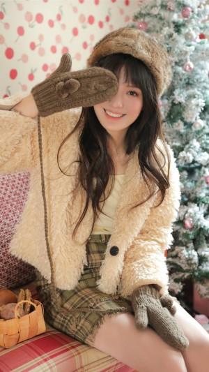 俏皮圣诞美女手机壁纸