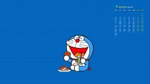 2019年9月哆啦A梦简约创意卡通高清日历壁纸