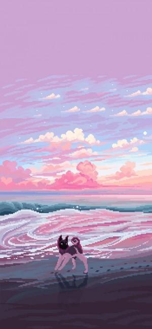 唯美像素风手绘风景图片手机壁纸