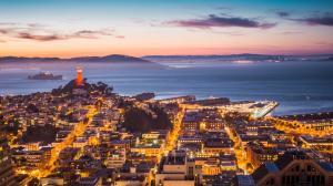 科伊特塔 恶魔岛 旧金山湾晚上风景壁纸
