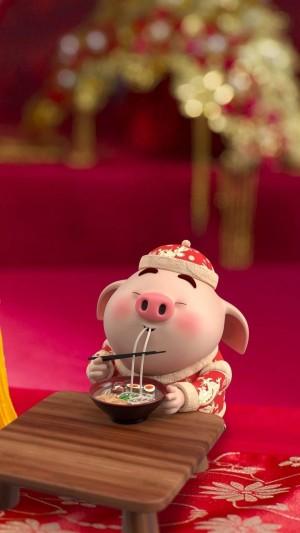 吃货猪小屁新年喜庆图片