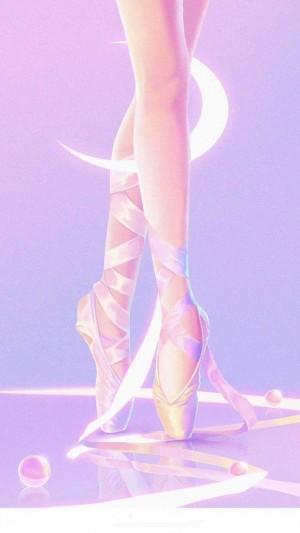 粉色夢幻的踮起腳尖跳芭蕾的小清新插畫圖片