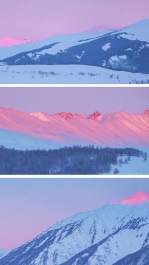 雪山壯美意境三連圖