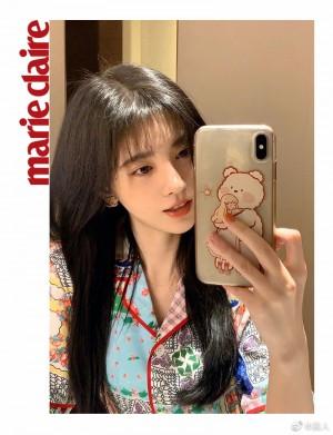 鞠婧祎粉色系美甲温柔甜美自拍照图片