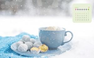 2020年2月冬日雪地热饮唯美意境日历壁纸