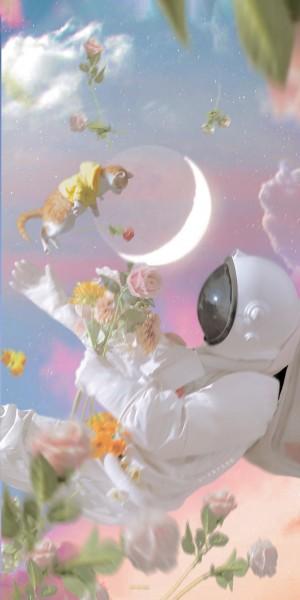 宇航员和猫治愈手机壁纸