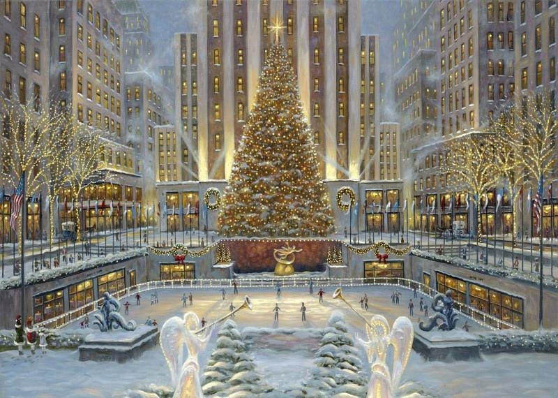 冬日雪景油画