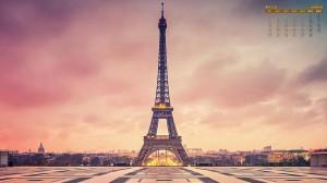 2020年2月壮观法国埃菲尔铁塔风光日历