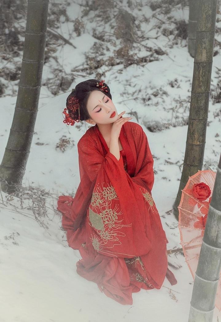 美艳动人的雪景古装艺术照图片