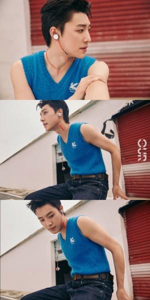 张欣尧复古蓝色系酷帅写真图片