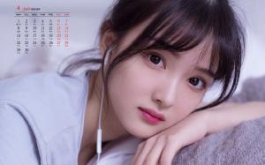 2019年4月大眼睛美女清纯头像高清日历壁纸