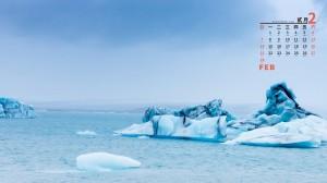 2021年2月唯美冰川风光日历壁纸