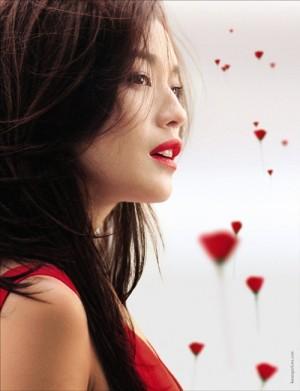 舒淇红色魅惑时尚广告大片
