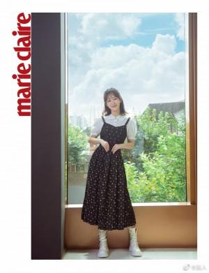 杨紫波点印花连衣裙俏皮可爱写真图片