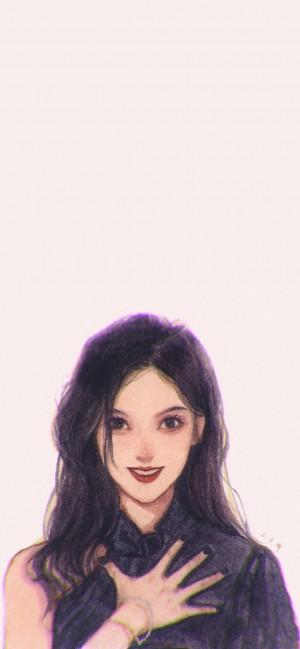 个性形象手绘女生头像插画手机壁纸
